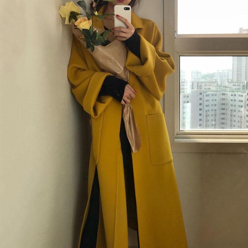 Women Wool Blends Autumn Elegant Office Ladies Ginger Yellow Solid Belted Long Overcoat Oversized Winter Coat Korean Minimalist