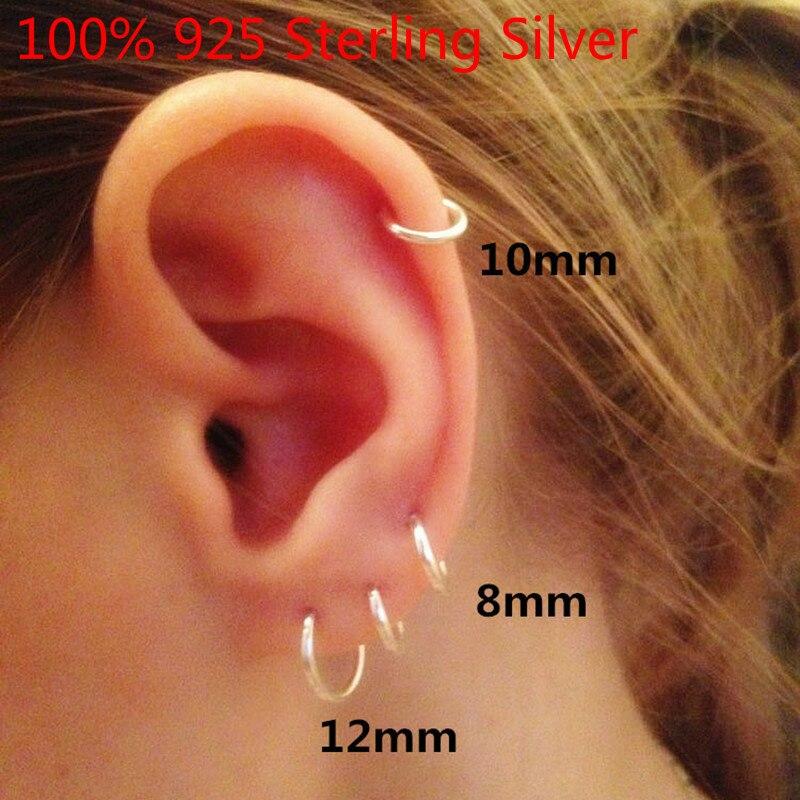 Fashion 925 Sterling Silver Earrings For Women Mini Small Hoop Earrings Ear Bone Buckle Round Circle Earrings 8mm-20mm Aretes X4