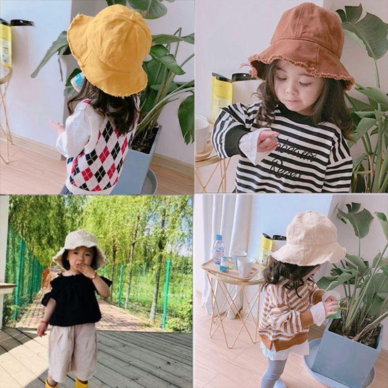 Toddler Baby Cotton Sunscreen Floppy Bucket Cap Solid Color Vintage Washed Fringed Tassels Wide Brim Hip Hop Kids Fisherman Hat