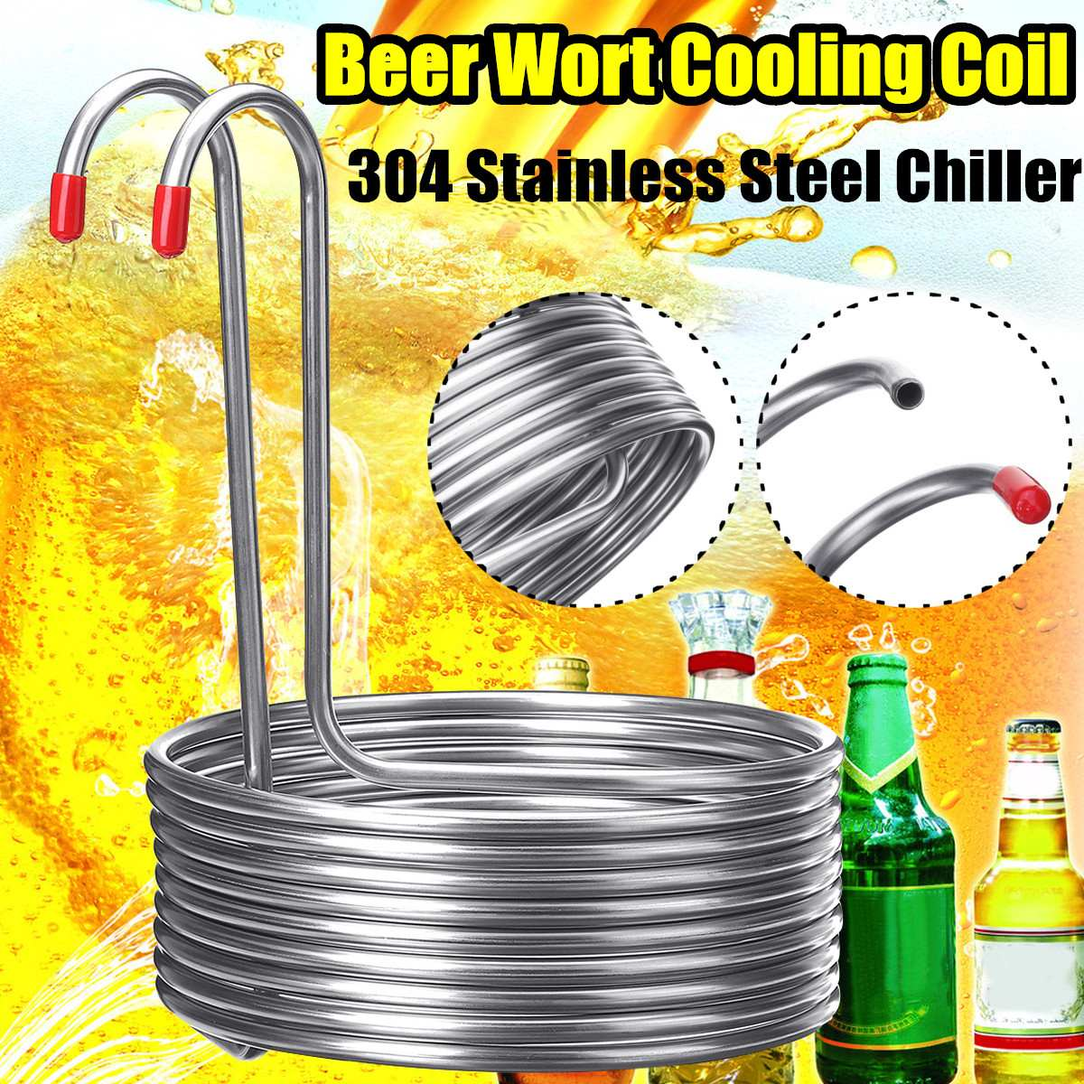 304 Stainless Steel Immersion Wort Chiller Tube For Home Brewing Super Efficient Wort Chiller Home Wine Making Machine Part