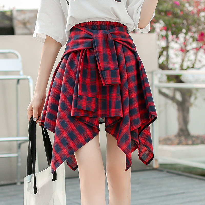 2018 Summer Wear New Style Korean-style Best Friend Elastic Waist Irregular Plaid Short Skirt Bandage Cloth Elastic Waist Skirt