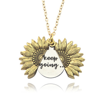 Sunflower Pendant Necklace Keep Going Letter Gold silver Color Sweater chain Custom necklace for Women Valentine's day gift image