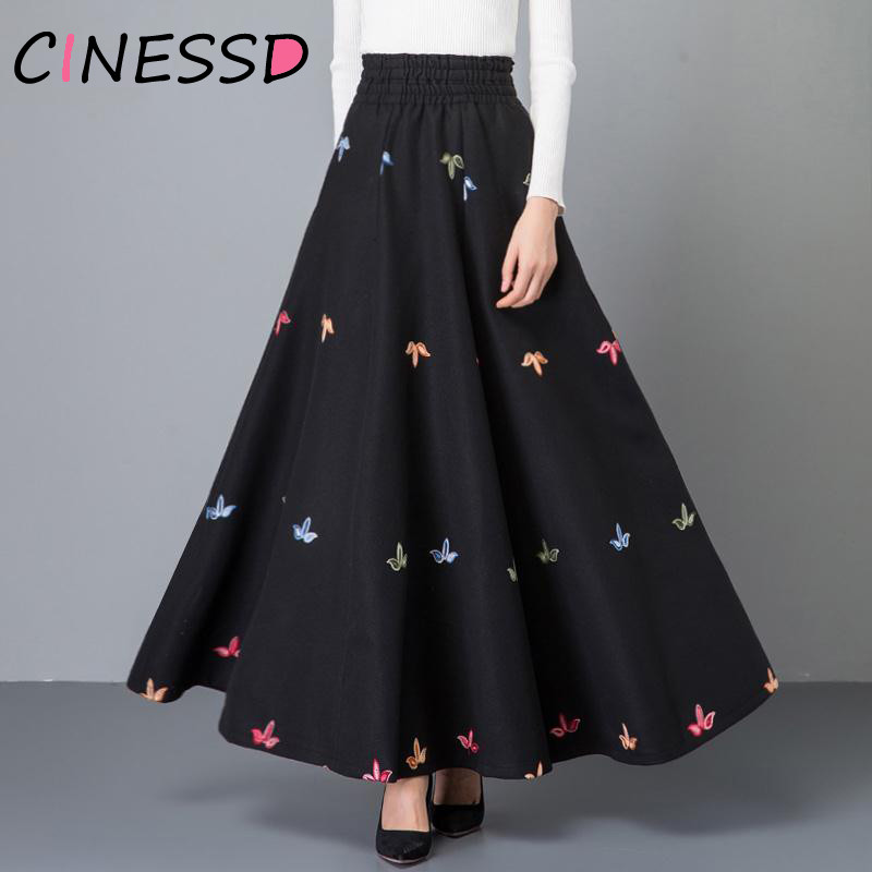 Spring New Plus Size Woolen Maxi Skirts Womens Black Pleated Long Skirt Ladies Office High Waist Flower Embroidered Streetwear