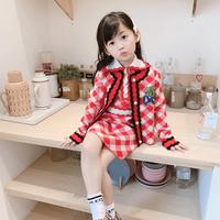 girls clothes set short sleeve dress + cardigan red white plaid cute baby girl clothing set