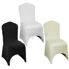 100 pçs branco/marfim/preto estiramento elástico universal elastano lycra cadeira capa para festa de casamento banquete hotel decoração para casa fornecimento