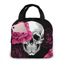 Portable Lunch Bag Skulls And Roses Thermal Insulated Lunch Box Tote Cooler Bag Bento Pouch Lunch Container Food Storage Bag
