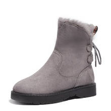 New Winter Women Boots Mid-Calf Flock Snow Boots Plush Warm Shoes Woman Flats Fashion Casual Lace-up Non-slip Zapatos De Mujer xiaying smile winter women snow boots warm antieskid mid calf boots platform strap slip on flats casual women flock rubber shoes