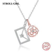 StrollGirl 925 sterling silver Rose Gold Flower envelope of Love pendant chain with clear CZ necklace for Women Jewelry Gifts(China)