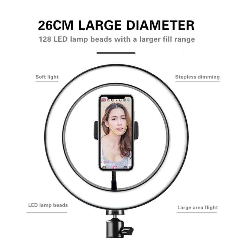 20Cm/26Cm Selfie Cincin LED Cahaya Ponsel Kamera Tripod Stand Video Dimmable Lampu Studio Kamera Cincin LED lampu Dropshipping