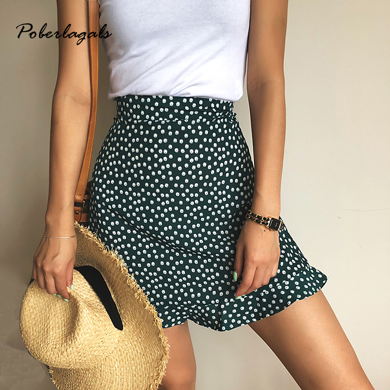 Summer Female Beach Boho Sexy Mini Skirt Female 2019 Womens Casual Floral Printed  Ruffles Hem High-Waist Skirt Skirts For Women