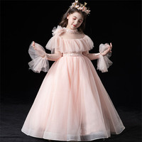 Spring Autumn Korean Sweet Pink Long Sleeves Wedding Birthday Party Princess Mesh Dress for Children Girls Host Communication