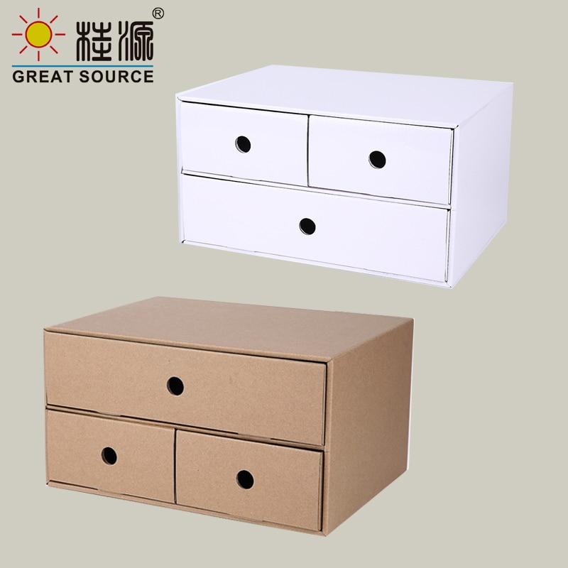 3 Drawers Storage Composable Cabinet Office Corrugate Foldable Home Storage Kraft Paper Environment Friendly(2PCS)