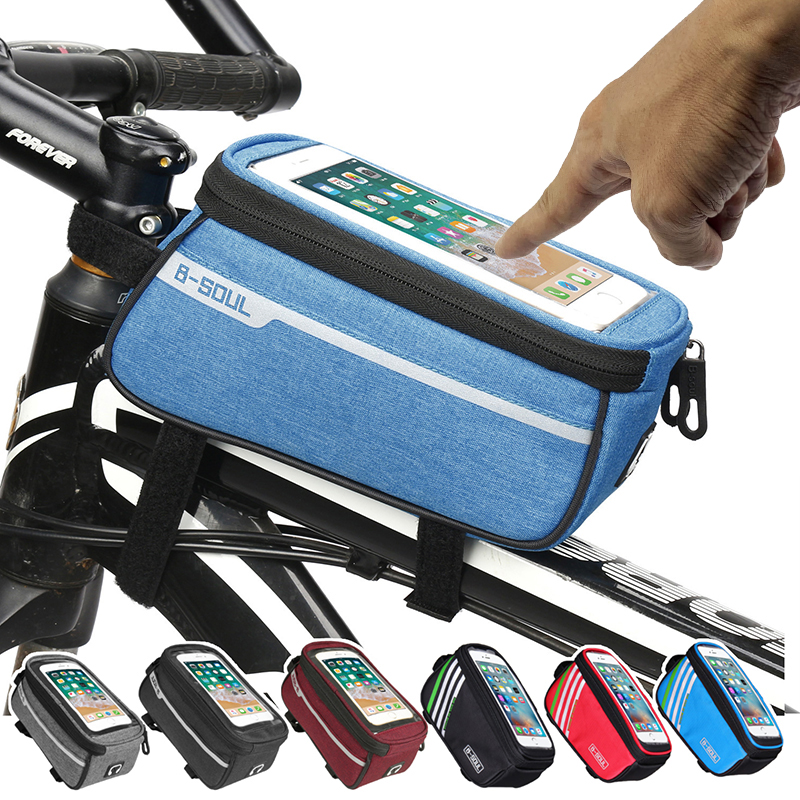 Waterproof Bicycle Bag Nylon <font><b>Bike</b></font> Cyling Cell Mobile Phone Bag <font><b>Case</b></font> 5.5'' 6'' Bicycle Panniers Frame Front Tube Bags Accessories image