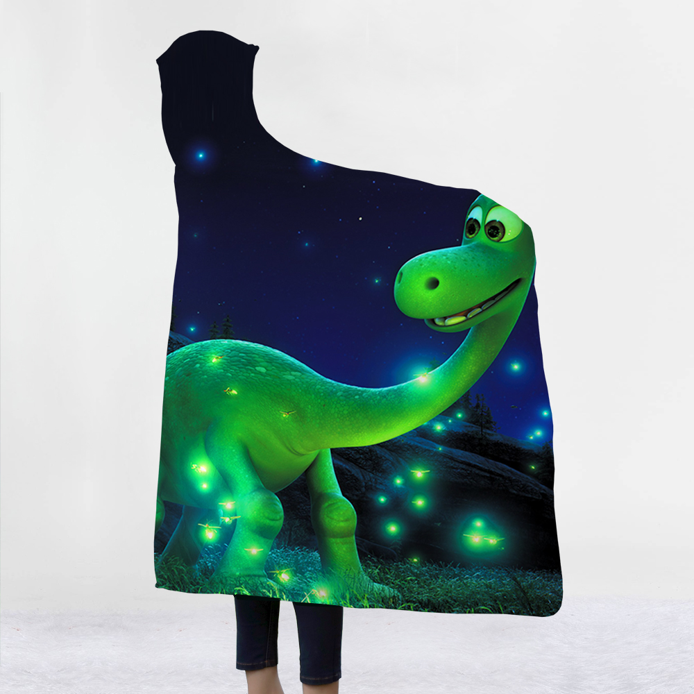 Dinosaur Hooded Blanket Super Soft Back to School Blanket In Cap Warm Blanket For Couch Throw Travel Anime Blanket in Blankets from Home Garden