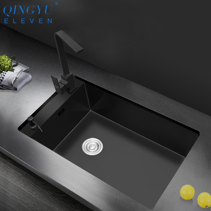 Horizontal Handmade Sink Nanometer Antibacterial 304 Stainless Steel 3mm Thickness Large Size Bar Counter Kitchen Sink