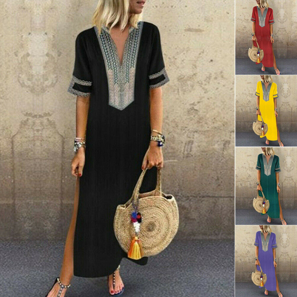 New Women Dress Short Sleeve Boho V Neck Casual Loose Print Boho Straight Solid Kaftan Summer Dress Ladies Long Plus Size 5XL