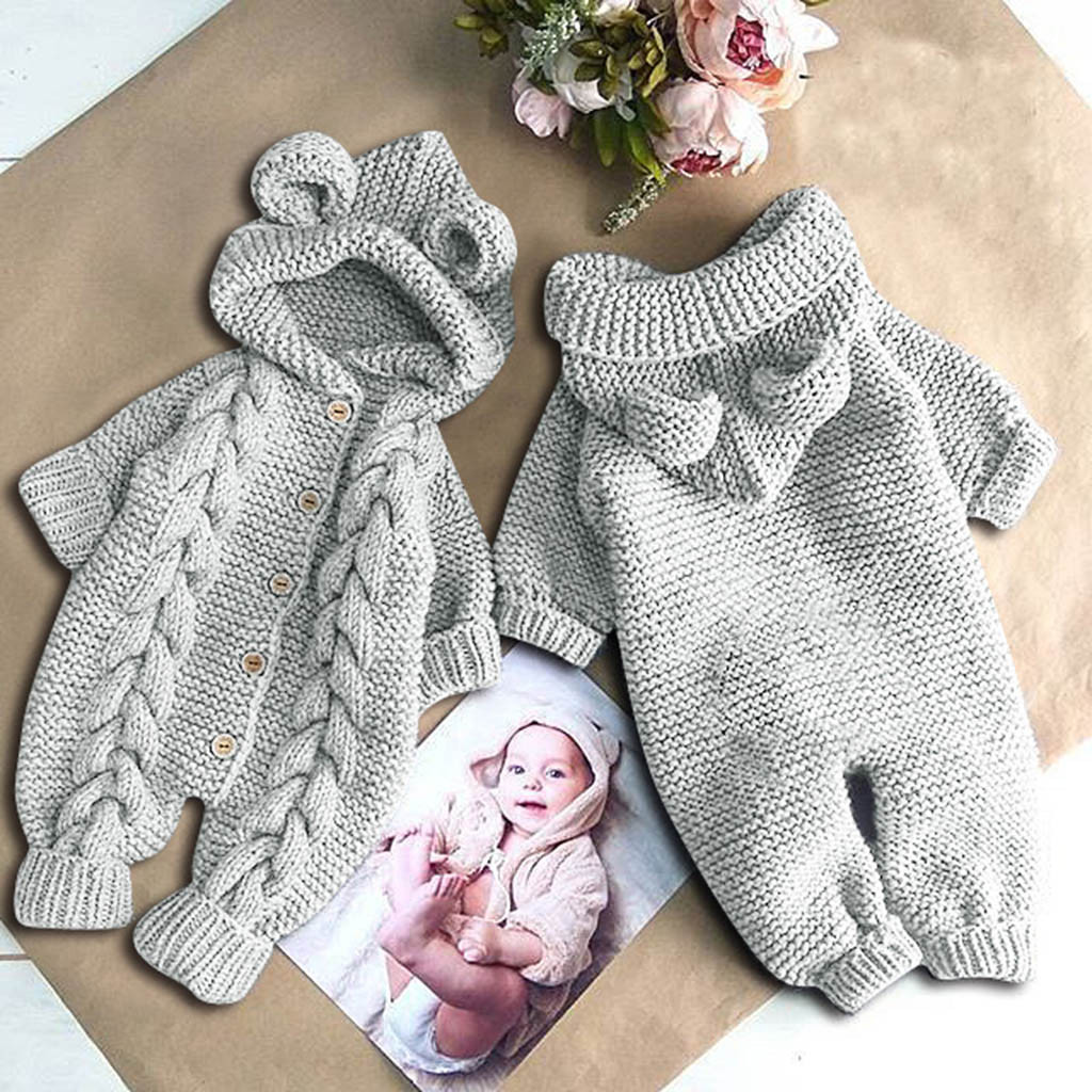 Newborn Infant Baby Girl Boy Winter Warm Coat Knit Outwear Hooded Jumpsuit