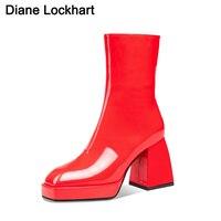 Marke mode Schuhe 2020 Neue Ankunft karree Stiefeletten Feminine Plattform Schuhe frauen High Heels Booties Drop Einkaufen