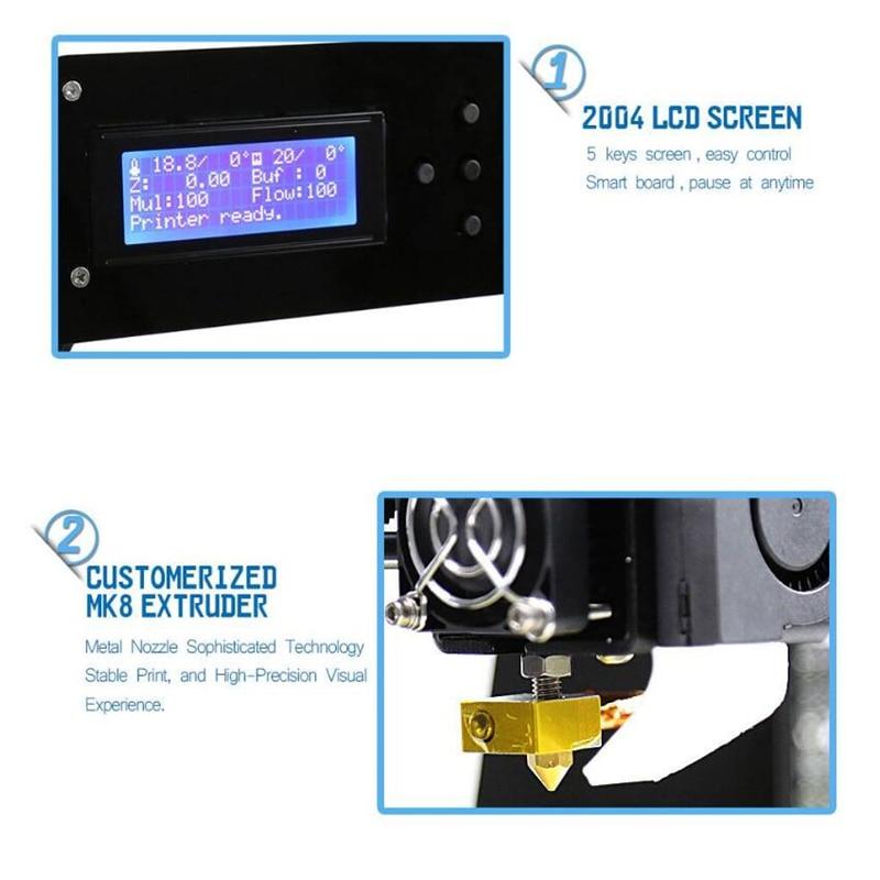 CTC A8 3D Printer High Precision Impresora 3D LCD Screen Aluminum Hotbed Extruder Printers DIY Kit Imprimante 3D Printer 5