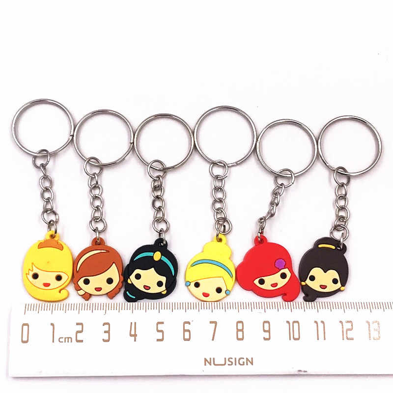 1PCS Anna Princess Icon PVC Pendant Key Ring For Decoration On Kids Backpack Wallet Cartoon Bella Princess Key Chain