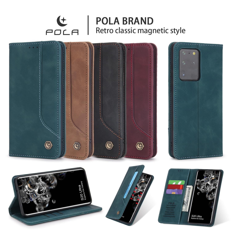 Flip deri manyetik telefon kılıfı için Samsung Galaxy Note 20 S20 Ultra S10 artı S10E S9 Flip cüzdan kart tutucu kickstand kapak