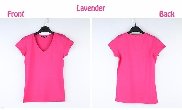 High Quality V-Neck 15 Candy Color Cotton Basic T-shirt Women Plain Simple T Shirt For Women Short Sleeve Female Tops 077 20
