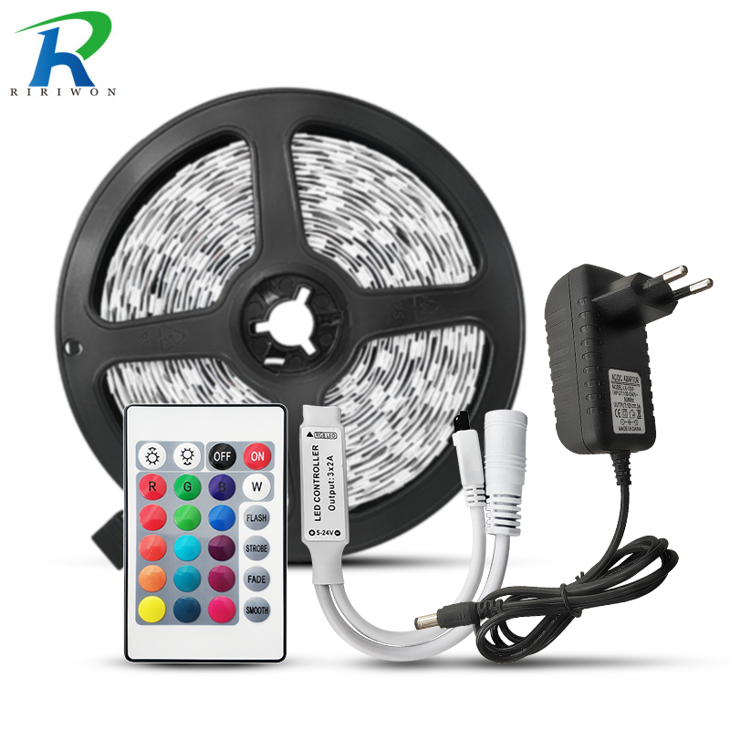 RGB led strip light 2835 5050 SMD Led Tapes diode Flexible Non waterproof LED String Ribbon Power Supply dc12v Android system