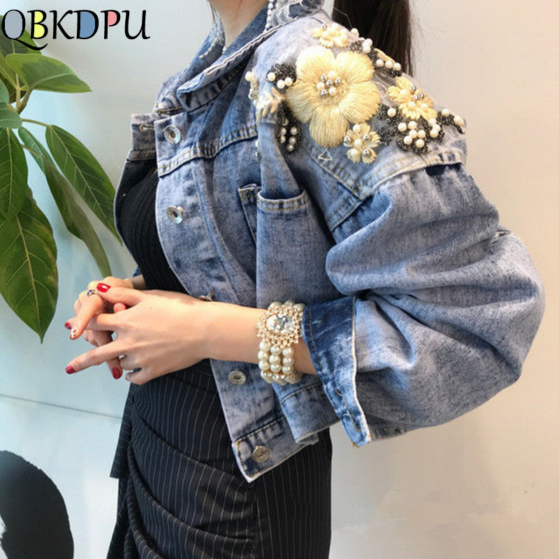 Women Embroidery Butterfly Pearl Bead Short Denim Coat 2019 Female Long Sleeve Loose Beading Sequin Jean Jacket Free Shipping