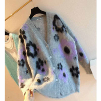 Cosmicchic 2020 Autumn Women Cardigan Mohair Knit Sweater Floral Long Sleeve V neck Single Breasted Coat Loose Hot New Arrival