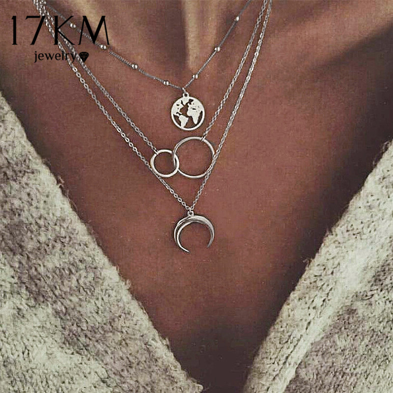 17KM Vintage Moon Map Necklace For Women Bohemian Multilayer Circle Coin Stone Pendant Necklaces Star Beads Choker Jewelry