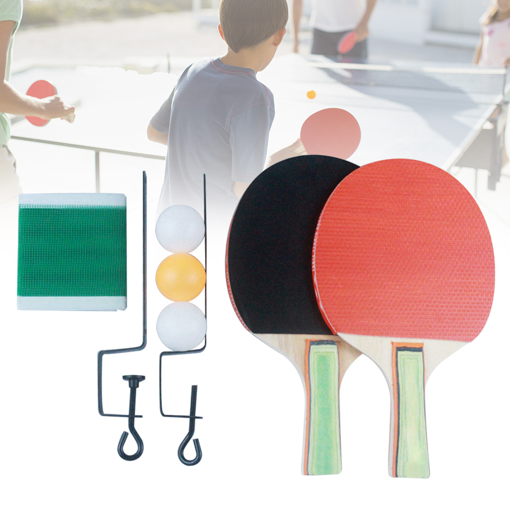 Table Tennis Set Net Fitness Entertainment Professional Students 2 Paddles Kids Gift Training Family Activity Beginner 3 Balls