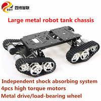 Большой металлический корпус-робот SZDOIT TS400, комплект на 4WD, гусеничный, гусеничный, амортизирующий, Роботизированный, образовательный, с тяж...