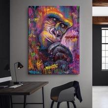 Animal Canvas Painting Gorilla Graffiti Art Wall Prints Poster Abstract Art Monkey Wall Pictures For Living Room Decor graffiti art monkey canvas painting colorful printed poster and prints painting wall pictures for living room home decor artwork
