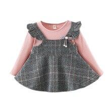 Зимнее платье для маленьких девочек Harajuku с рюшами и оборками; полосатые платья в клетку; повседневная одежда с длинными рукавами; Vestido Bebes