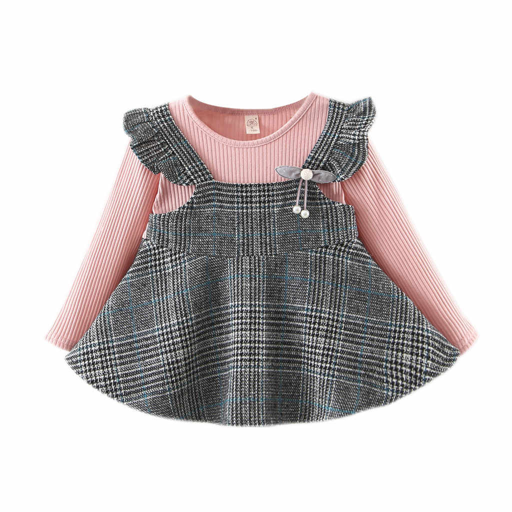 Toddler Baby Kids Winter Girls Dress Harajuku Ruched Ruffles Striped Plaid Dresses Long Sleeves Casual Clothes Vestido Bebes
