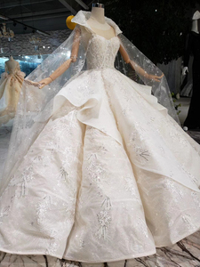 Image 3 - BGW HT5610 Luxury Swollen Wedding Dresses With Detachable Special Cape Illusion Back Luxury Handmade Ball Gown Wedding Gown 2020