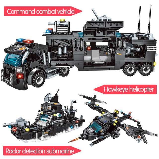 715pcs City Police Station Car Building Blocks SWAT Team Truck House Technic Diy Toys 2