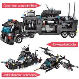 Image 3 - 715pcs City Police Station Car Building Blocks per City SWAT Team Truck House Blocks Technic giocattolo fai da te per ragazzi bambini