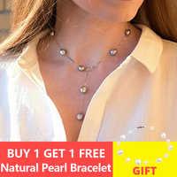 ASHIQI Echtem 925 Sterling Silber Anhänger Halskette Für Frauen 9-10mm Weiß Grau Natürliche Süßwasser Barocke Perle Schmuck