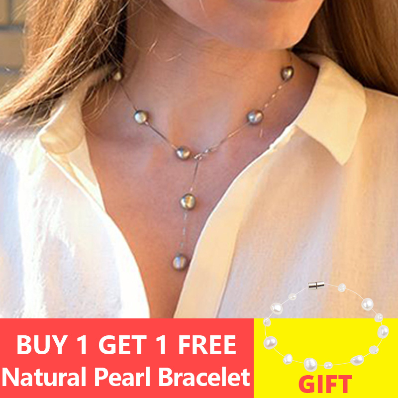 ASHIQI véritable 925 pendentif en argent Sterling collier pour femmes 9-10mm blanc gris naturel eau douce Baroque perle bijoux