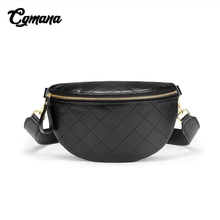 Quality Leather Waist Bag Fanny Pack Chest Waist Bum Belt Bag Rhomboid Quilted Crossbody Shoulder Bag Women Female Handbag Chain