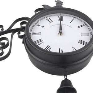 Image 4 - Horloge murale de jardin en plein air Double face coq Vintage rétro décor à la maison