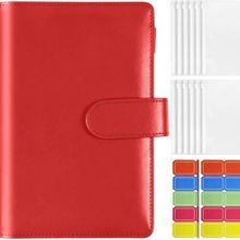 A6 Plastic Binder Pockets with Leather Notebook Binder Cover, 6-Ring Budget Binder Loose Leaf Zipper Bags Envelope System