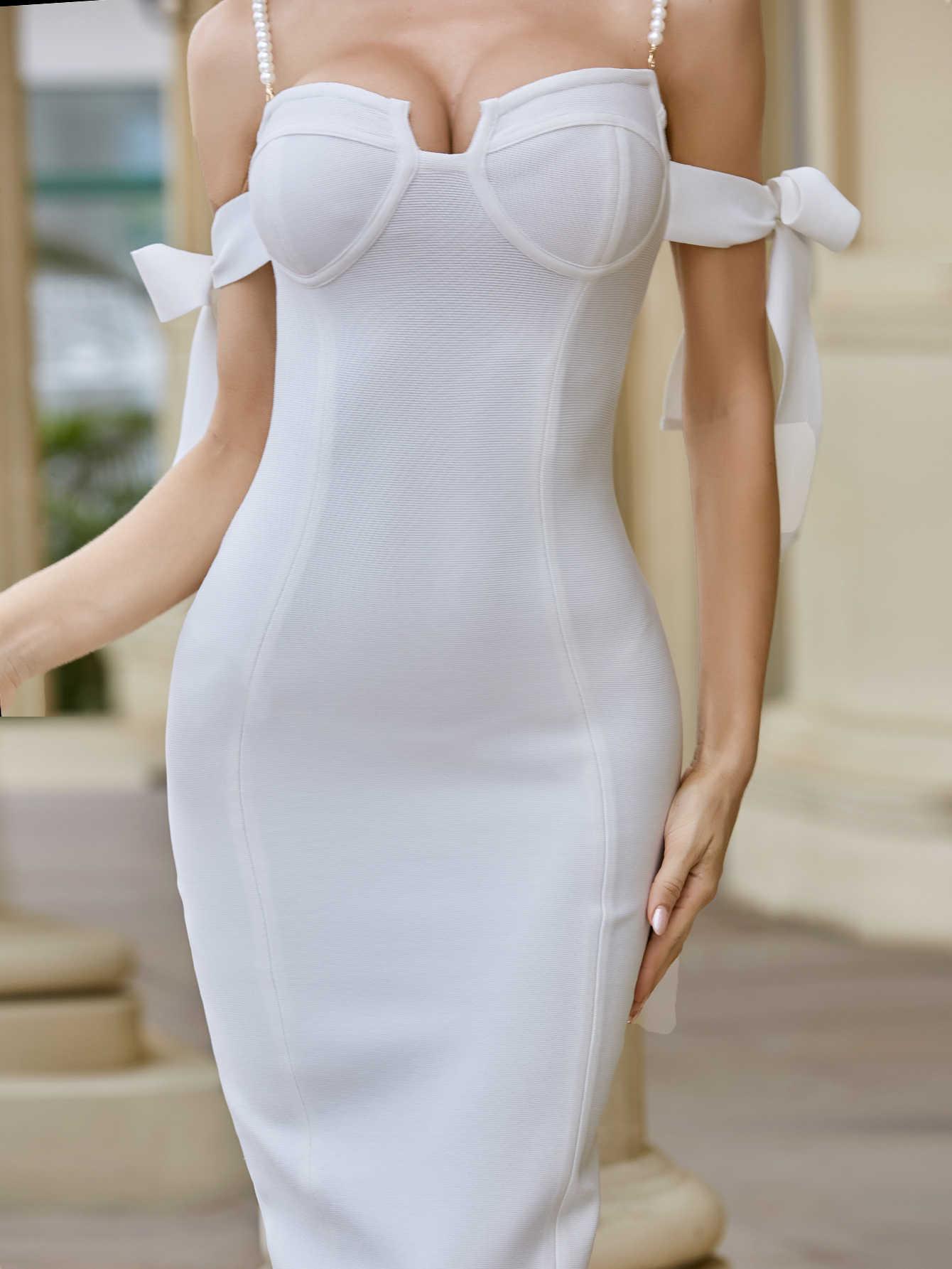 2020 新女性のセクシーなビーズ白黒パーティードレスデザイナー膝長さのイブニングドレスセレブナイトクラブ包帯ドレス vestido