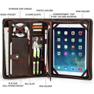 """Image 4 - Archiwalne skórzane etui na padfolio dla iPad Pro 11 10.5 Air 3 10.2 """"Tablet Protector dla iPad 9.7 Air 2 zapinany na zamek dziennik Holder"""