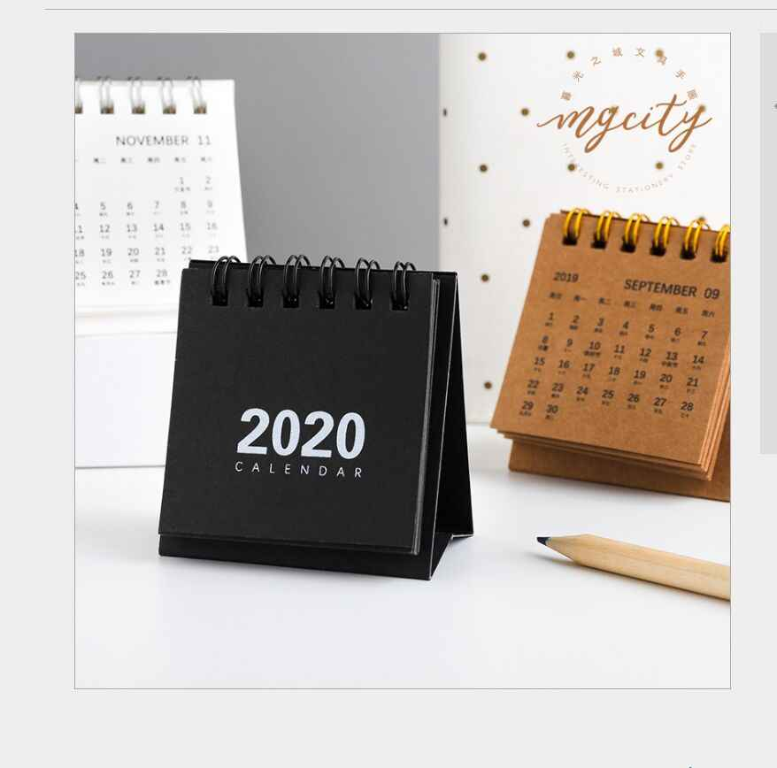 New year 2020 mini table calendar creative simple desk coil notepad kraft paper calendar Daily Schedule Yearly Agenda Organizer