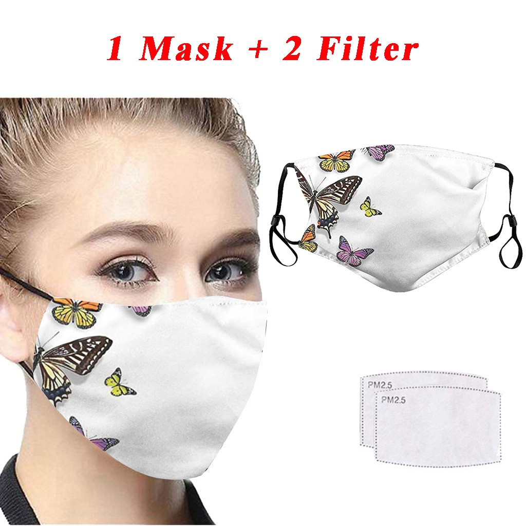 1pc Mouth Mask Summer Thin Face Masks Protective Washable Anti-dust Solid Color Mask Dust Proof Washable Anti Flu Mask +2 Filter