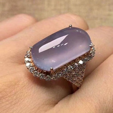 Exquisite Purple Resin Crystal Stone Rings for Women Luxury Rose Gold Micro Pave CZ Wedding Band Fashion Rings Z5Z036