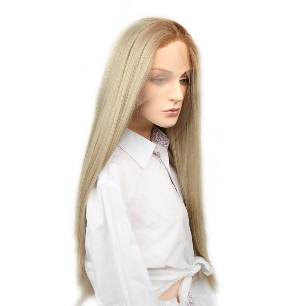 Lady Miranda Blonde Lace Front Wigs Free Part Long Natural Straight Bleached Knot Synthetic Wigs For Women With Baby Hair