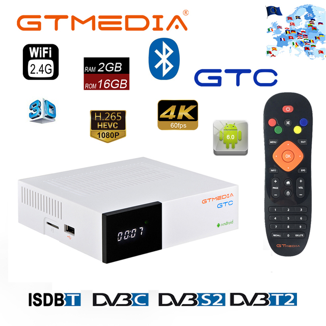 GTMedia GTC Android 6.0 TV BOX DVB S2/T2/C Amlogic S905D 2GB 16GB with free Cline for Europe Support M3U Set Top Box